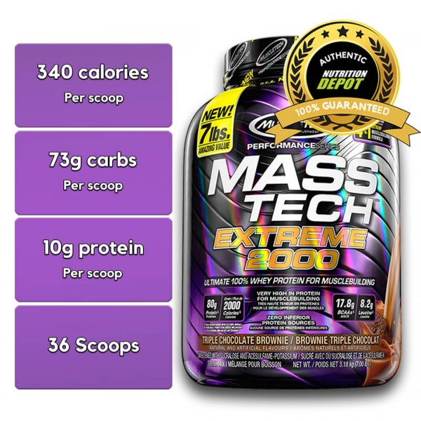 MUSCLETECH MASS TECH EXTREME 2000, TRIPLE CHOCOLATE BROWNIE, 7 LBS nutritional information
