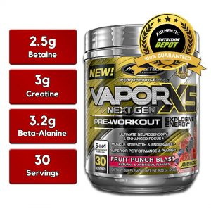 MUSCLETECH VAPORX5 NEXT GEN, FRUIT PUNCH BLAST 30 SERVING nutritional information