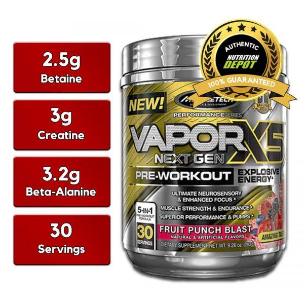MUSCLETECH VAPORX5 NEXT GEN, FRUIT PUNCH BLAST 30 SERVING nutritional information