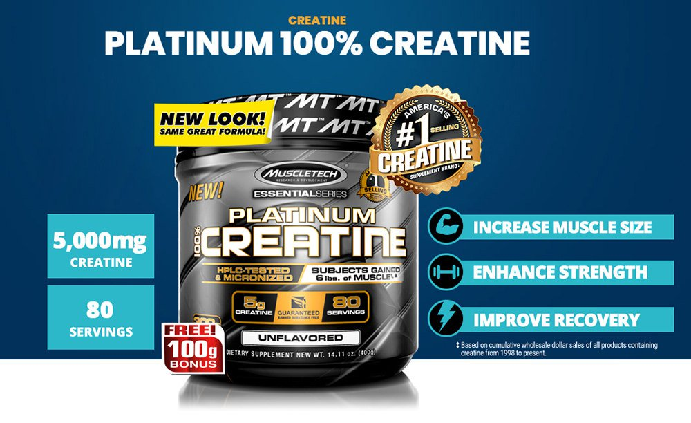 MUSCLETECH PLATINUM 100% CREATINE, 400 GRAMS 1