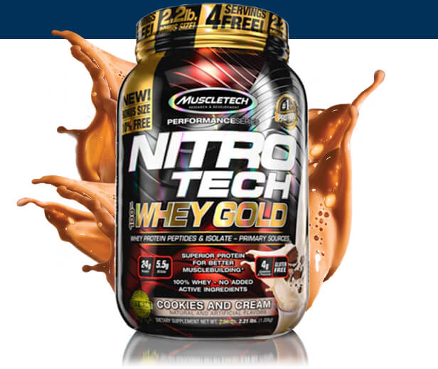MUSCLETECH NITROTECH 100% WHEY GOLD, COOKIES AND CREAM product details