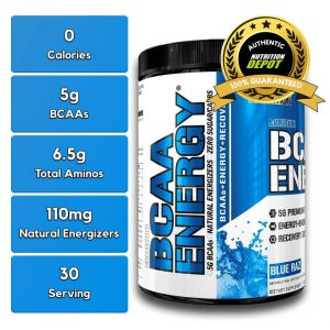 EVL BCAA ENERGY, BLUE RAZ, 30 SERVING nutritional information