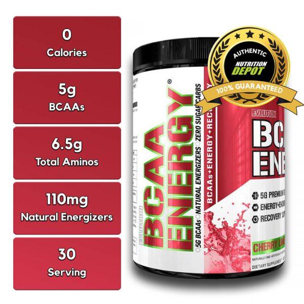EVL BCAA ENERGY, CHERRY LIMEADE, 30 SERVING nutritional information