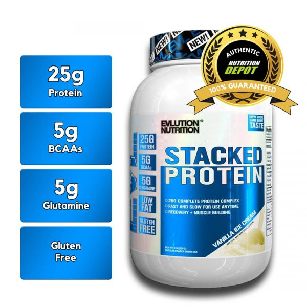 EVL STACKED PROTEIN, VANILLA ICE CREAM, 2 LBS nutritional information