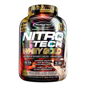 MUSCLETECH NITROTECH 100% WHEY GOLD, COOKIES & CREAM, 5.5 LBS