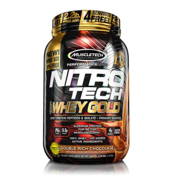 MUSCLETECH NITROTECH 100% WHEY GOLD, DOUBLE RICH CHOCOLATE, 2