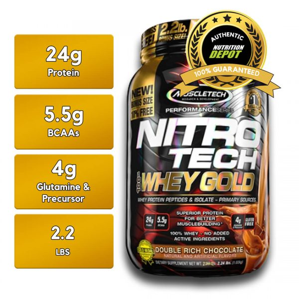 MUSCLETECH NITROTECH 100% WHEY GOLD, DOUBLE RICH CHOCOLATE, 2.2 LBS nutritional information