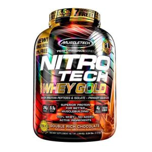 MUSCLETECH NITROTECH 100% WHEY GOLD, DOUBLE RICH CHOCOLATE, 5.5 LBS