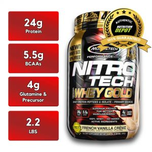 MUSCLETECH NITROTECH 100% WHEY GOLD, FRENCH VANILLA CREAME, 2.2 LBS nutritional information