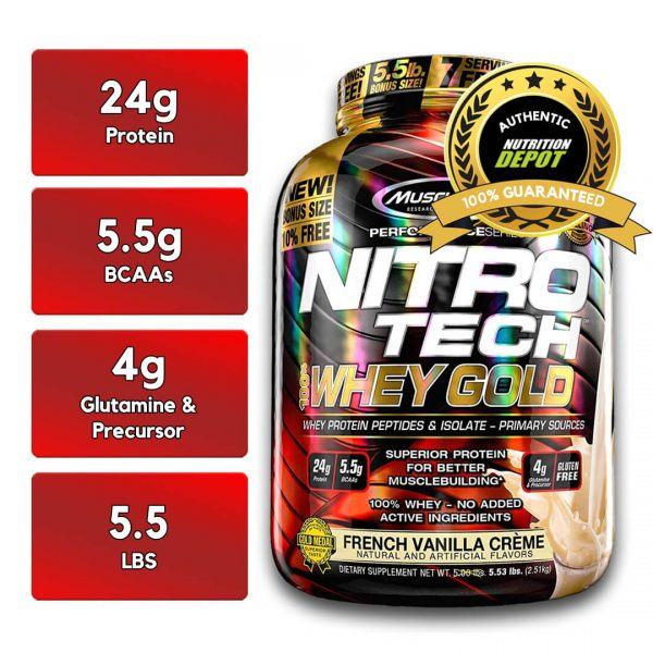 MUSCLETECH NITROTECH 100% WHEY GOLD, FRENCH VANILLA CREAME, 5.5 LBS nutritional information