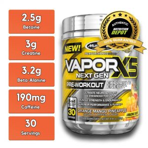 MUSCLETECH VAPORX5 NEXT GEN, ORANGE MANGO PINEAPPLE, 30 SERVING nutritional information