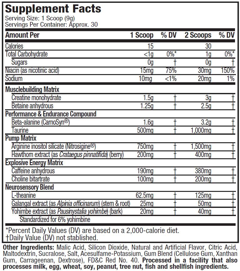 VAPOR X5 NEXT GEN - CANDY WATERMELON - NUTRITION FACT