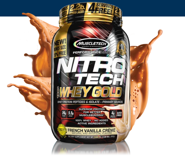 MUSCLETECH NITROTECH 100% WHEY GOLD, FRENCH VANILLA CREAME, 2.2 LBS 2