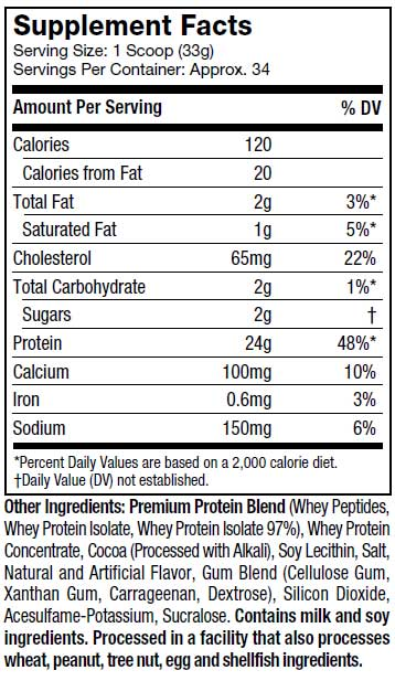 WHEY GOLD, 2.2lbs,nutritional info