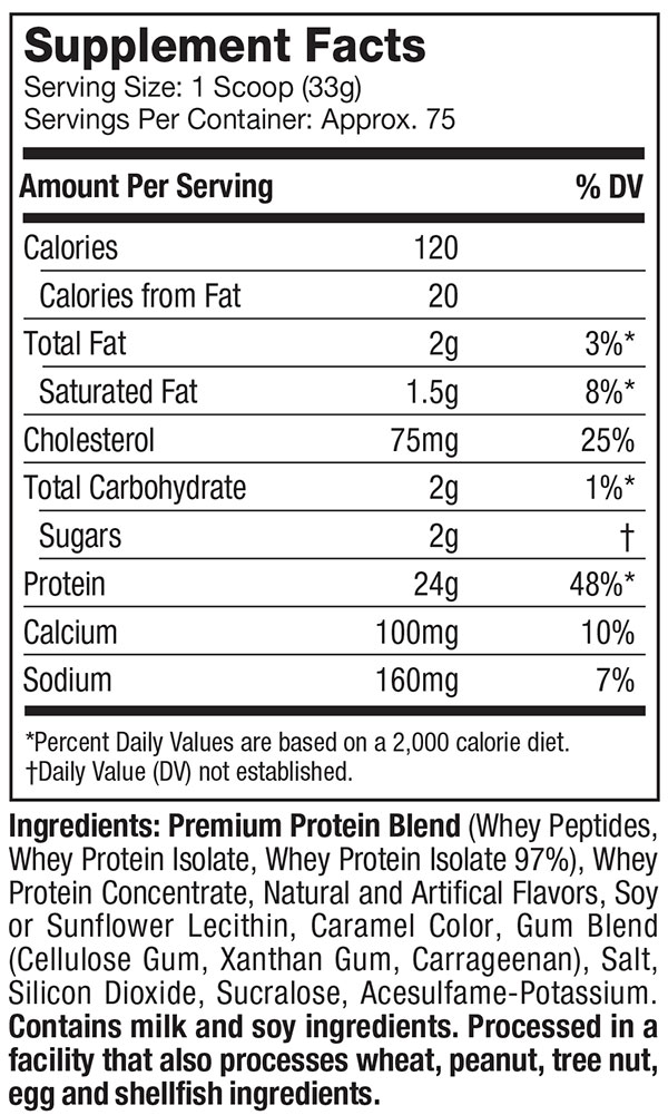WHEY GOLD, 5.5lbs,nutritional info