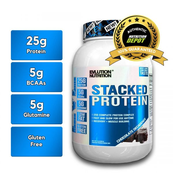 EVL STACKED PROTEIN, CHOCOLATE DECADENCE, 2 LBS nutritional information