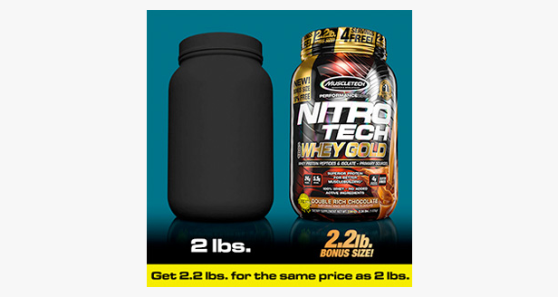 MUSCLETECH NITROTECH 100% WHEY GOLD, DOUBLE RICH CHOCOLATE, 2.2 LBS 6