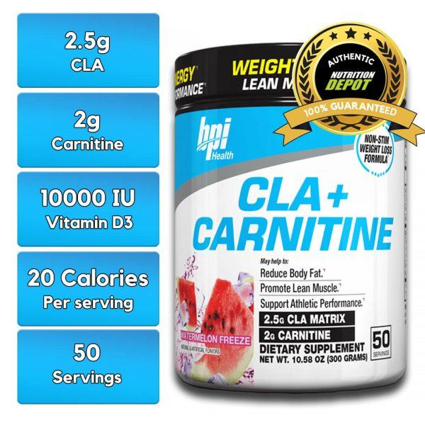 BPI CLA + CARNITINE, WATERMELON FREEZE, 50 SERVING nutritional information
