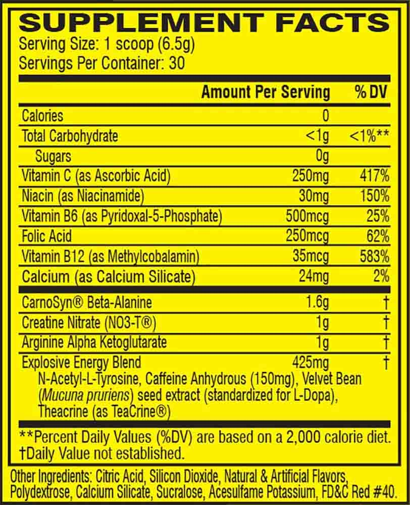 C4 FRUIT PUNCH, 30 SERVING NUTRITION INFO