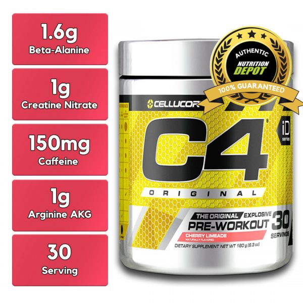 CELLUCOR, C4 CHERRY LIMEADE, 30 SERVING nutritional information
