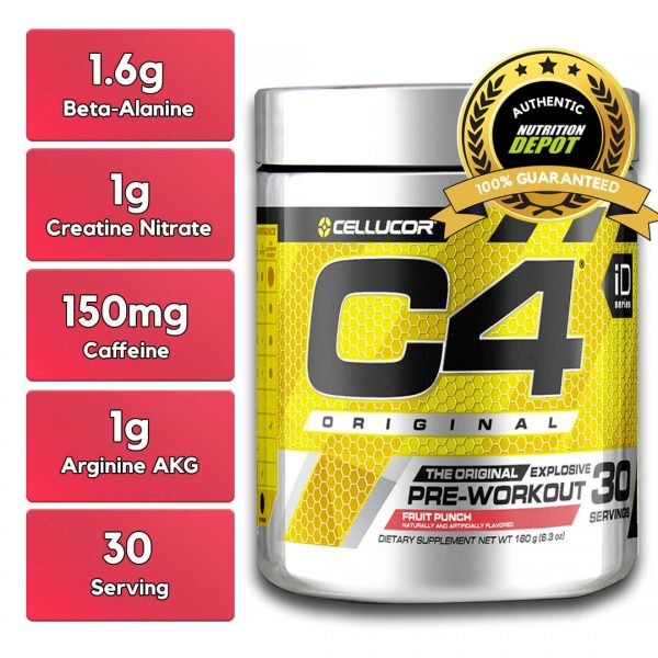 CELLUCOR, C4 FRUIT PUNCH, 30 SERVING nutritional information