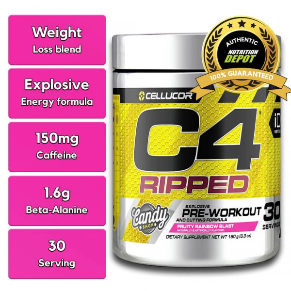 CELLUCOR, C4 RIPPED FRUITY RAINBOW BLAST, 30 SERVING nutritional information