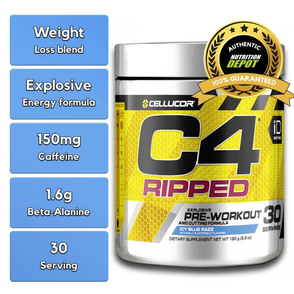 CELLUCOR, C4 RIPPED ICY BLUE RAZZ, 30 SERVING nutritional information