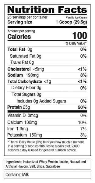 EVL 100% ISOLATE, VANILLA ICE CREAM, 1.6 LBS - NUTRITION INFO