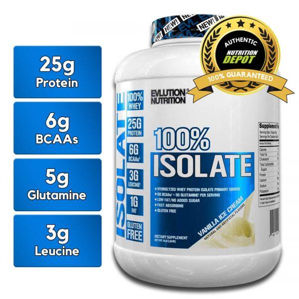 EVL 100% ISOLATE, VANILLA ICE CREAM, 4 LBS nutritional information