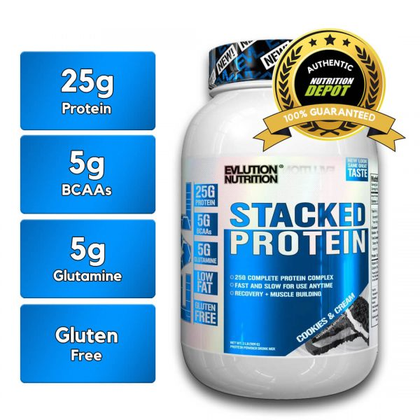 EVL STACKED PROTEIN, COOKIES AND CREAM, 2 LBS nutritional information