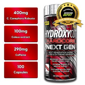 MUSCLETECH HYDROXYCUT HARDCORE NEXT GEN, 100 CT nutritional information