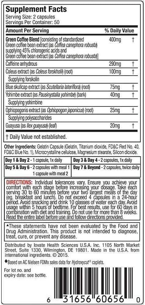 MUSCLETECH HYDROXYCUT HARDCORE NEXT GEN, 100 CT NUTRITION INFO