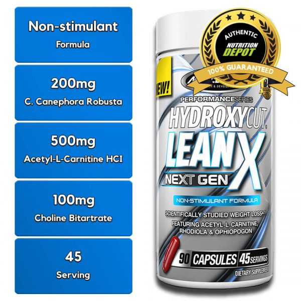 MUSCLETECH HYDROXYCUT LEANX, 90 CT nutritional information