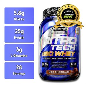 MUSCLETECH NITROTECH 100% ISO WHEY, MILK CHOCOLATE, 28 SERVINGS nutritional information