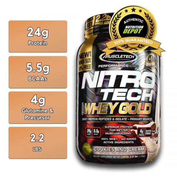 MUSCLETECH NITROTECH 100% WHEY GOLD, COOKIES AND CREAM 2.2 lbs nutritional information