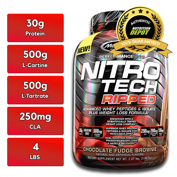 MUSCLETECH NITROTECH RIPPED, CHOCOLATE FUDGE BROWNIE, 4 LBS 1