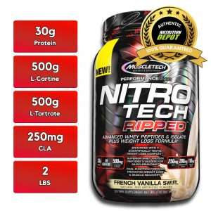 MUSCLETECH NITROTECH RIPPED, VANILLA, 2 LBS nutritional information