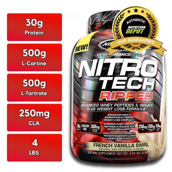 MUSCLETECH NITROTECH RIPPED, VANILLA, 4 LBS nutritional information