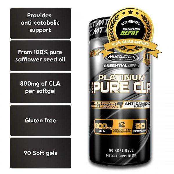 MUSCLETECH PLATINUM 100% CLA, 90 SERVINGS nutritional information