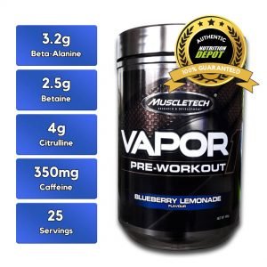 MUSCLETECH VAPOR ONE, BLUEBERRY LEMONADE, 25 SERVINGS nutritional information