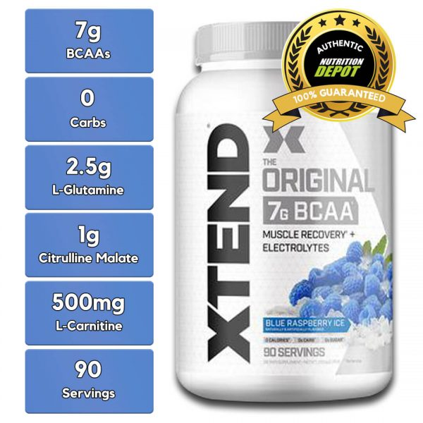 XTEND BCAA, BLUE RASPBERRY, 90 SERVING nutritional information