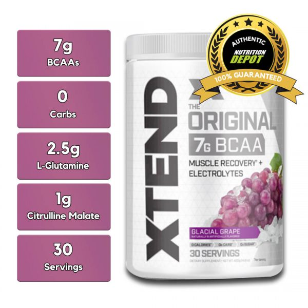 XTEND BCAA, GLACIAL GRAPE, 30 SERVING nutritional information