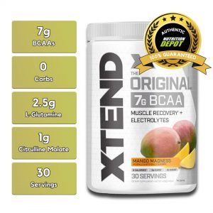 XTEND BCAA, MANGO MADNESS, 30 SERVING nutritional information