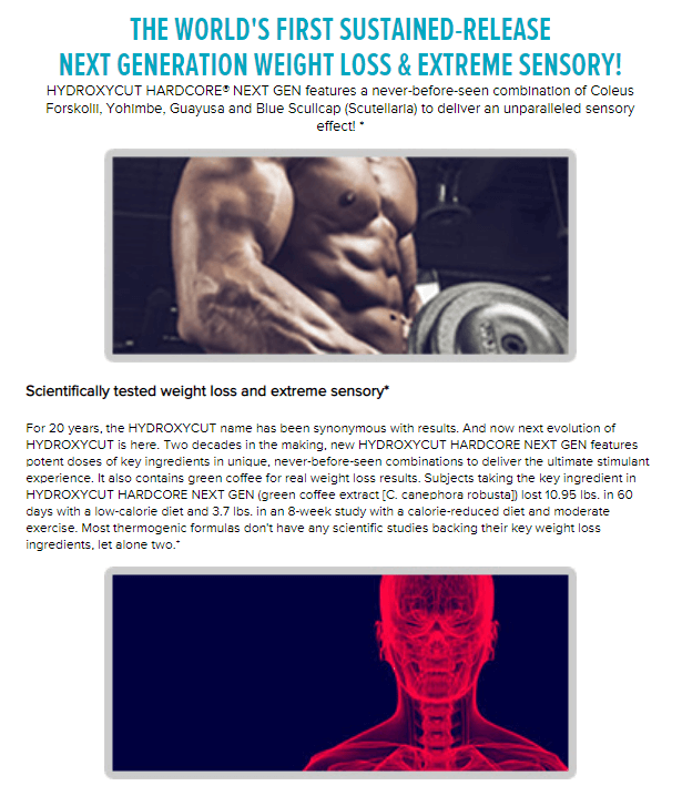MUSCLETECH HYDROXYCUT HARDCORE NEXT GEN PRODUCT DETAILS