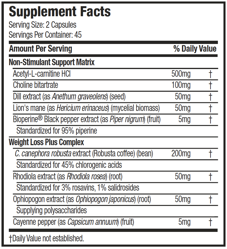 MUSCLETECH HYDROXYCUT LEANX, 90 supplement facts