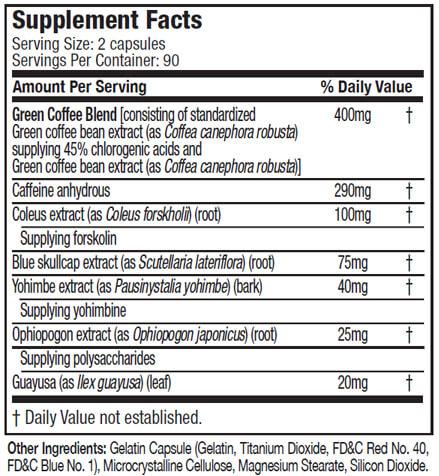 MUSCLETECH HYDROXYCUT HARDCORE NEXT GEN supplement facts