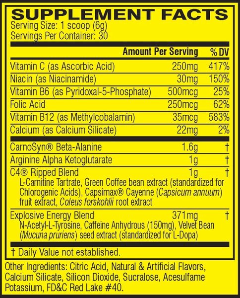C4 NUTRITION INFO