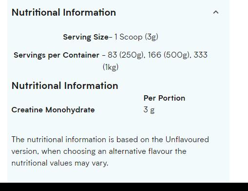 Creatine Monohydrate NUTRITION INFO
