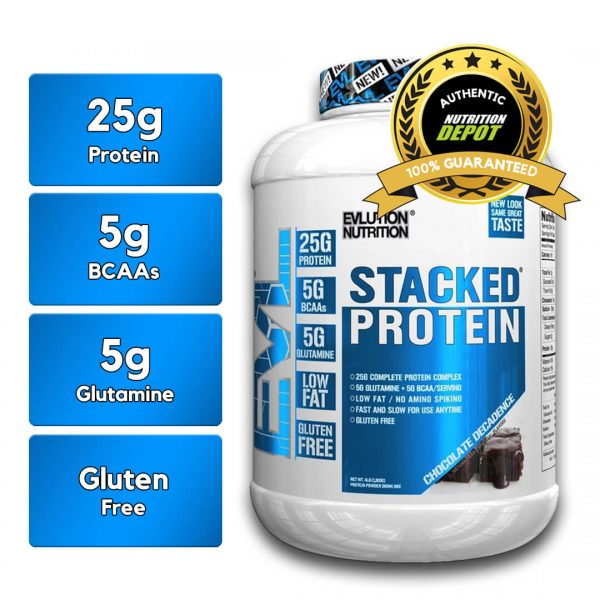 EVL STACKED PROTEIN, CHOCOLATE DECADENCE, 4 LBS nutritional information