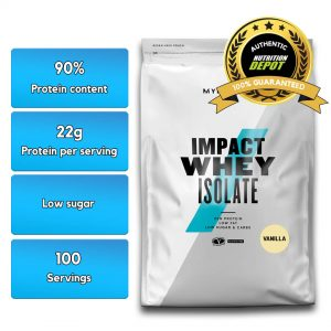 MYPROTEIN IMPACT WHEY PROTEIN ISOLATE, VANILLA, 100 SERVING nutritional information